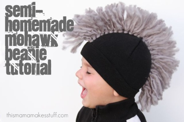 f801c061be5 Tutorial  Semi-homemade Mohawk Beanie Cap  no knitting