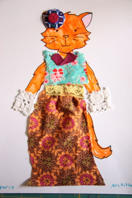 Look how creative kids can be - what a beautifully dressed paper doll cat.