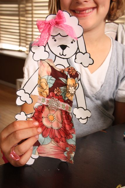 Fabric scrap poodle - how pretty is she.