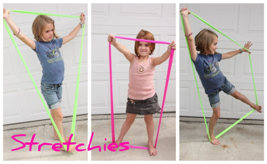 Little girls playing with handmade Shape Stretchies.